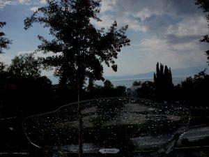 Ankunft bei Regen in Sveti Stefan am Ohrid-See
