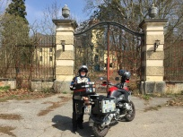 Bock and pillion infront of the Waasen Castle